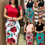 Summer Women Sexy Package Hip Patchwork Pencil dress Vestido Plus Size S-5XL Floral Print Short Sleeve O-neck Bodycon Dress