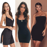 Womens Dresses New Arrival 2019 Sleeveless Bodycon Backless Solid Color Dress Loose Slim Commuter Casual Strapless Dress