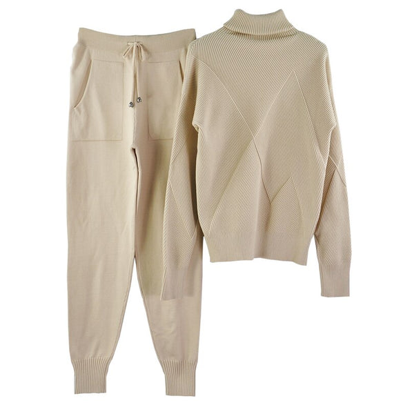 Woman Sweater Suits Casual Knit Tracksuit Turtleneck Pullovers+pants Two Piece Sets Female Outfits Sweater Suit