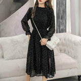 2020 New Sexy Korean Fashion Black Vintage Clothes Spring Lady Long Chiffon Dress Women Long Sleeved Polka Dot Pleated Dress