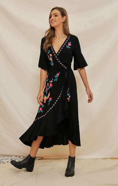 Embroidery Ruffle Floral Embroidered Vintage Bohemia Dresses