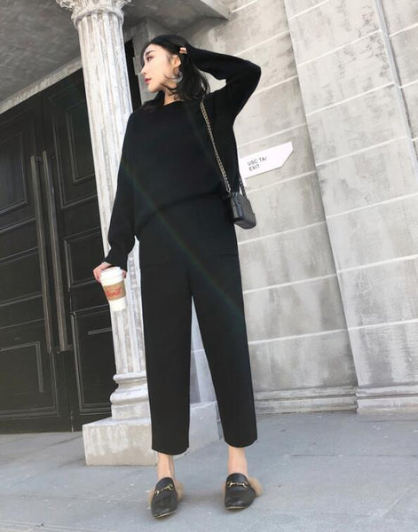 2020 Women Autumn Winter Thick Warm O-neck Loose Sweater+Ankle-Length Pants Warm Cashmere Suit Knitted 2 pieces Set Tracksuits