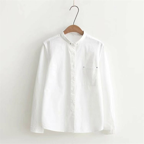 2020 White Blouse Women's Shirt Cotton Womens Tops and Blouses Vintage Stand Collar Blusas Mujer De Moda Haut Femme