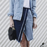 New Fashion Casual Solid A-line Asymmetrical Tassels Knee-length Patchwork Denim Skirt