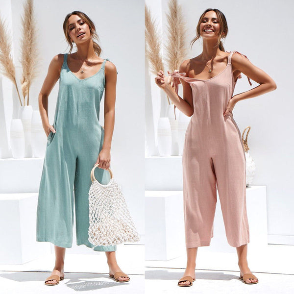 2020 Summer New Women Casual Loose Linen Cotton Jumpsuit Sleeveless Backless Playsuit Trousers Jumpsuit
