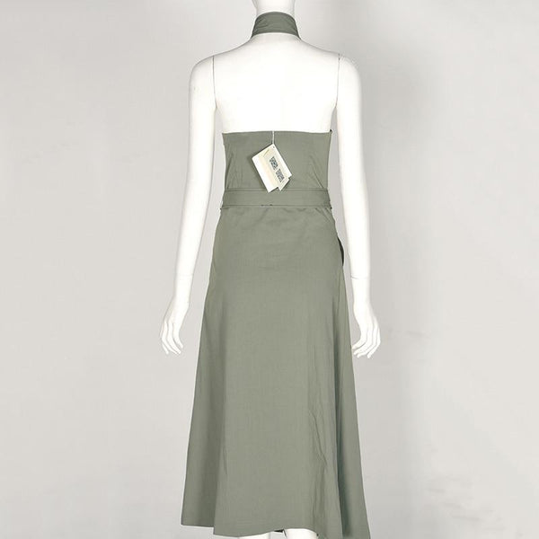 New Fashion Spring Summer Halter Sleeve Gree Single Breasted Loose Long Waist Bandage Maxi Dress