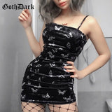 Women Gothic Spaghetti Strap Backless Off Shoulder Dresses Female Fashion Casual Print Sexy Dress Black Dress