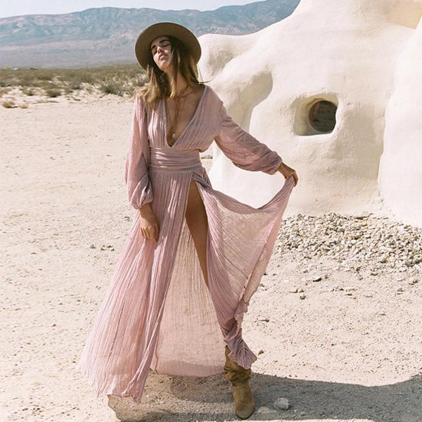 Pleated Long Sleeve V Neck Boho Pure Color Maxi Dress