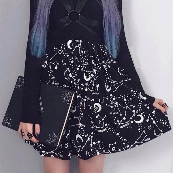 Women High Waist Punk Black Skirts Constellation Rock Sexy