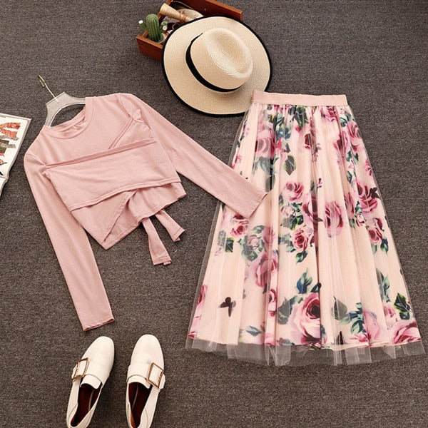 2020 New Elegant Pink 2 Piece Set Women Sweet Cross Bowknot Irregular Crop Top T Shirt + Mesh Floral Tulle Long Skirts Suits