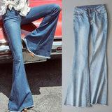2020 New Spring Women Blue Mid Waist Flare Bell Bottoms Ladies Sexy Stretching Jeans Fashion Wide Leg Denim Trousers