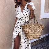 New Fashion Summer Ladies Dot Beach Dress Maxi Dress