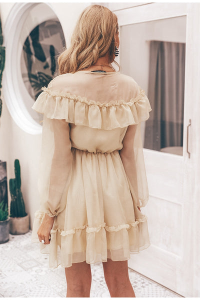 2019 Sexy v neck ruffle women dress Elegant long sleeve mesh lining summer party dresses Casual fashion