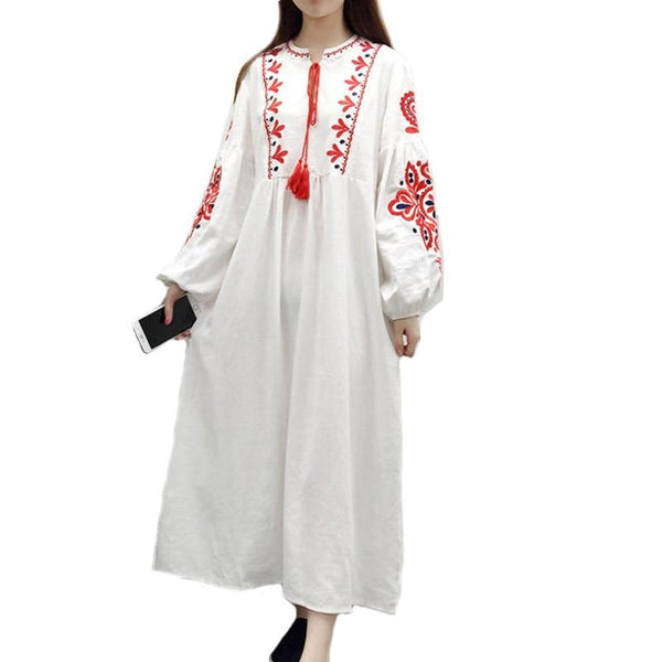 Loose Embroidery  Ethnic Vintage Lantern Sleeve Floral Embroidered A Line Cotton Bohemia Dress