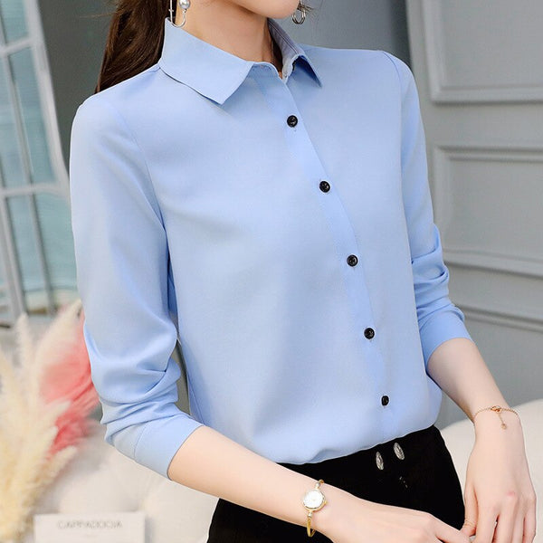 2020 Brand Blusas Mujer De Mod Tops Long Sleeve Lapel White Blouse Office Ladies Work Blouses Fashion Clothing Blusas Womens Shirts
