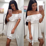 2019 Summer Casual Vintage Sweet Lace White Dress Slim Beach Sundress