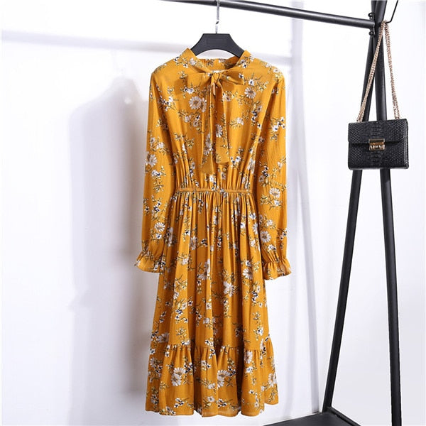 Summer Autumn Chiffon Dresses 2020 Casual Long Sleeve Floral Print Party Dress Female High Elastic Waist Bohemian Dress Vestidos