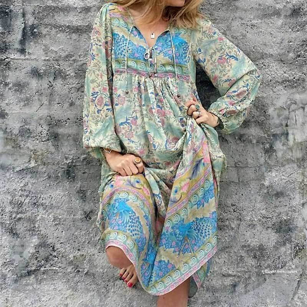 Floral Print Long Sleeve Tassel V-neck Chic Bohemia Dresses