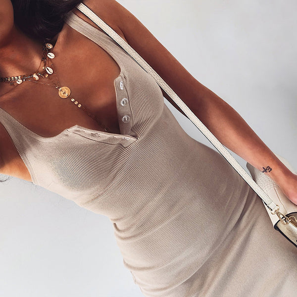 Fashion Knee-Length Dress Knitted Elastic Sleeveless Bodycon elegant Women Summer Sexy V-Neck Button Party Slim Dresses