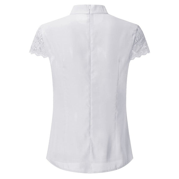 2020 Sexy Lace Blouses Women Hollow Out Tops Femme Solid Casual Office Shirts Plus Size Blusas V Neck Streetwear Tees
