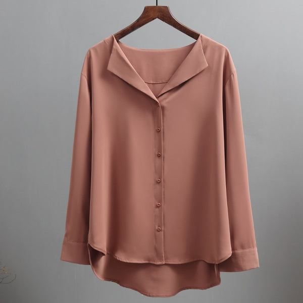 2020 Spring Autumn Casual Solid Female Shirts Outwear Tops New Women Chiffon Blouse Office Lady V-neck Button Loose Clothing T-shirs