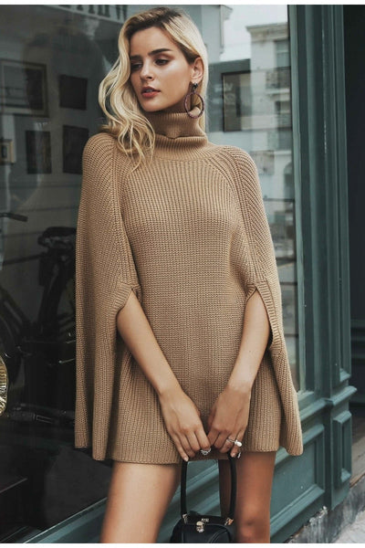 2019 Knitted turtleneck cloak sweater Women Camel casual pullover Autumn winter