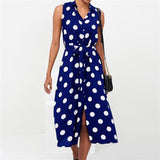 Elegant Dot Print Sleeveless Office Ladies Turn Down Collar Maxi Dress
