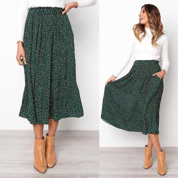 2020 Elegant Female Bottom White Dots Floral Print Pleated Midi Skirt Women Elastic High Waist Side Pockets Skirts