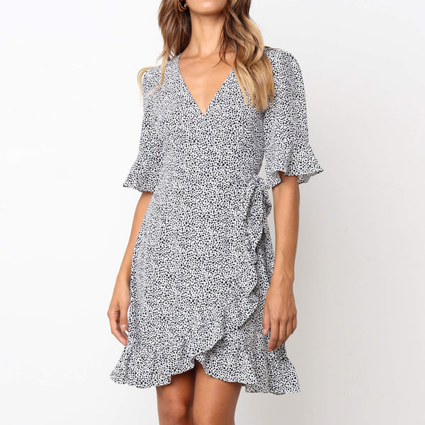 Summer Dress 2019 Women Polka Dot Boho Ruffle Short Sleeve Beach Dress Sexy Deep V Neck