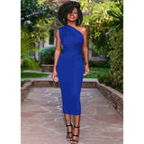 Women one shoulder dress 2020 womens OL Dress Elegant Bodycon Party Knee Length Dresses Plus Size Vestido