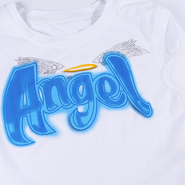 2020 Summer Women Casual Slim Fashion T Shirt Female Streetwear Tees Hot Sale Sexy Angel Letter Print O Neck short Sleeve T-shirt