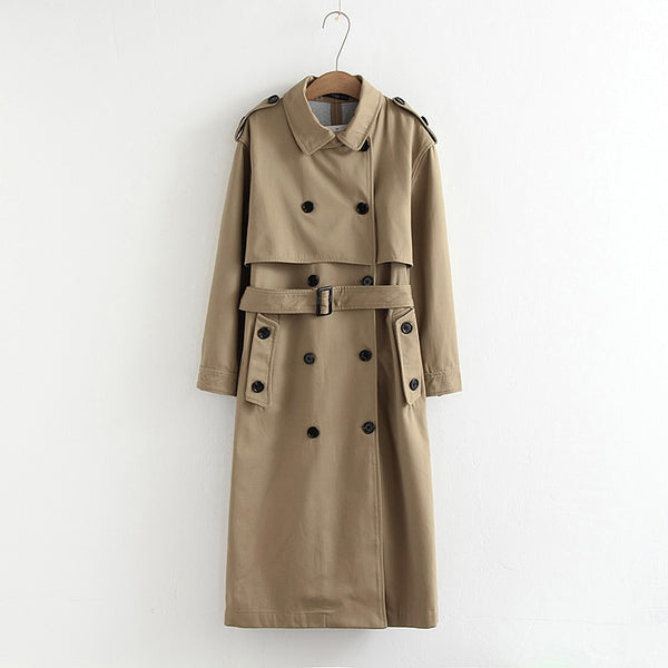 women casual solid color double breasted outwear  chic epaulet design long trench