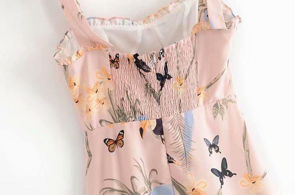 Sexy Vintage Print Ruffle Bow Tie Sleeveless Boho Dress
