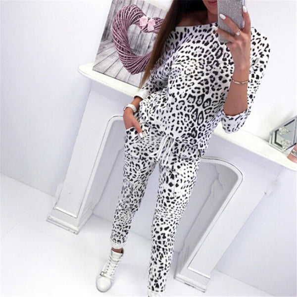 Fashion Women 2Pcs Tracksuit Long Sleeve Camouflage/Leopard Printed Hoodies Sweatshirt High Waisted Pants Sets Lady Casual Suits