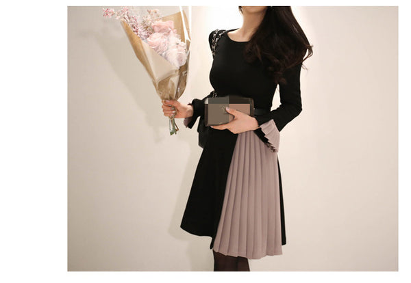 2020 New arrival Women Elegant Knee-Length Pleated Dress Patchwork O-neck Vestidos Women Spring Flare Sleeve Party Dress