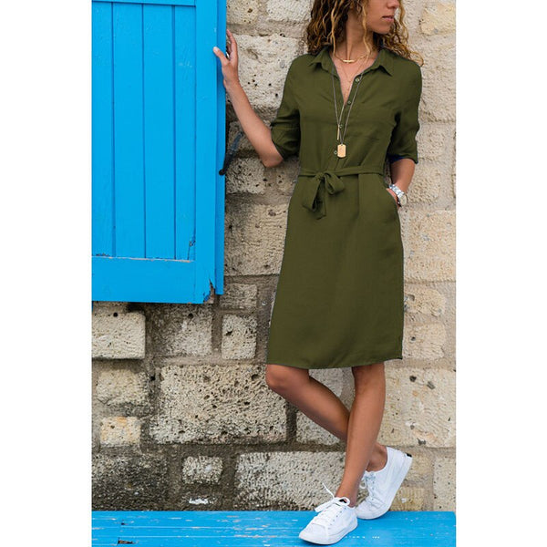 Fashion Turn-down Collar Party Shirt Dress Women Solid Three Quarter Sleeve Spring Dress Plus Size Loose Casual Vestidos Robe