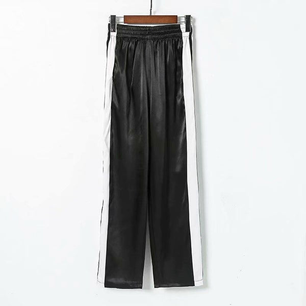 High Waist Wide Leg Pants Loose Striped Panelled Button Patchwork Ankle Length Pants Casual Streetwear