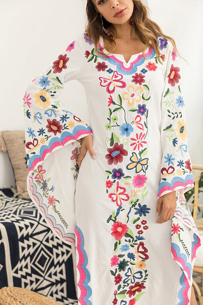 New Vintage Flared Long Sleeve Bohemian Multi Flower Embroidery Maxi Dress