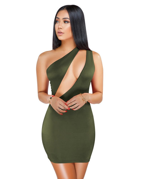 Sexy One Shoulder Black Bodycon Mini Dress Women Clothes Sleeveless Hollow Out Elegant Night Club Bandage Party Dresses Female
