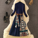 2020 Fall Winter Fashion Women Long Sleeve Ethnic Retro Printing Pleated Dress Elegant Knitted Patchwork Pleated Midi Dress