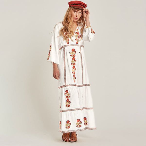Boho Floral Embroidered V-Neck Long Sleeve Bohemia Dresses