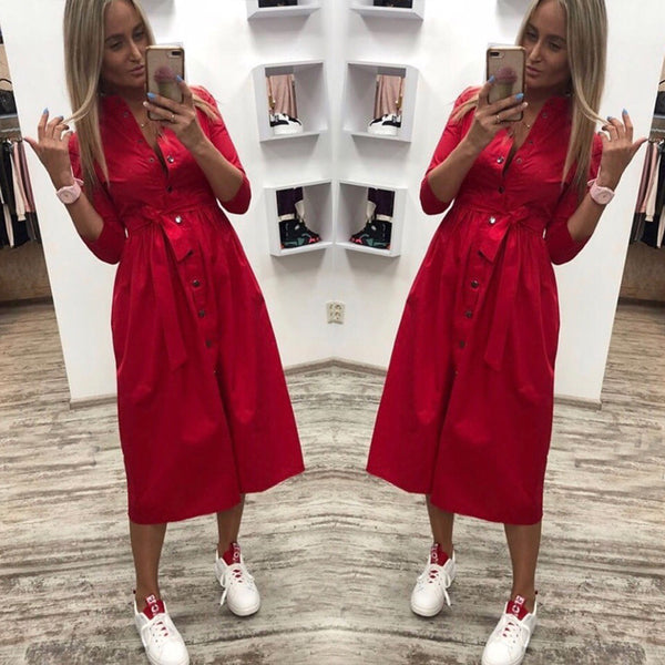 Spring Autumn New Fashion Dress Women Vintage Front Button Sashes Party Dress Three Quarter Sleeve Turn Down Collar Solid Dress