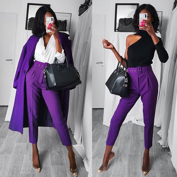 Office Lady Black Suit Pants With Belt Women High Waist Solid Long Trousers Fashion Pockets Pants Trousers Pantalones