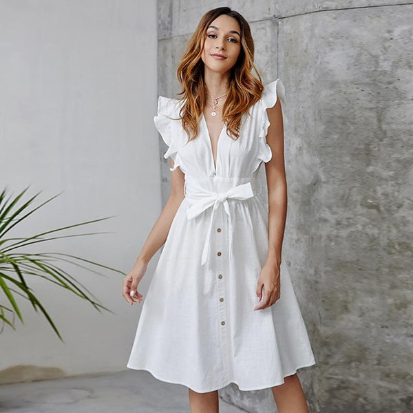 Sexy Deep V Buckle Lotus Leaf Sleeve Cotton Linen Bohemia Dresses