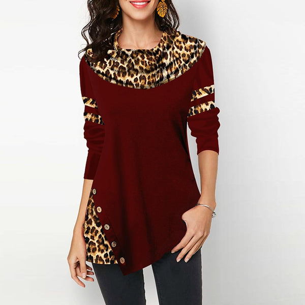 2020 Spring Female Leopard Print Women's Blouses Shirts Casual Plus Size Tunic Irregular Button Cotton Womens Tops T-shirts And Blouses