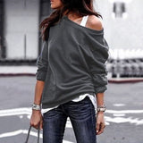 Casual Loose Hoodies Female Fashion Long Sleeve Solid Color O-Neck Sweatshirts Women Harajuku Plus Size Pullovers Tops