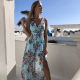 Women V Neck Split Sexy Long Dress Floral Print Long  Summer Spaghetti Strap Party Pink Chiffon Elegant Casual Maxi Dresses Beach