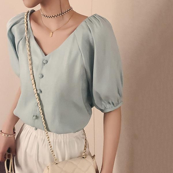V Neck Button Solid Color Blouse