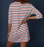 Casual Stripes Half Sleeve Midi Dresses