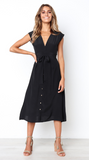 Black Bowknot Midi Dress